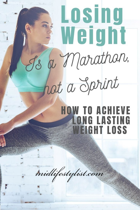 Losing weight is a marathon, not a sprint.  How to achieve long lasting weight-loss.  Image shows a young woman working out