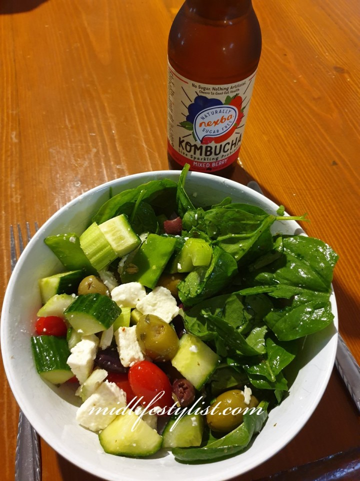 My healthier lunch - a salad and Kombucha.  Swapping my lunch to this one helped me lose a lot of weight.