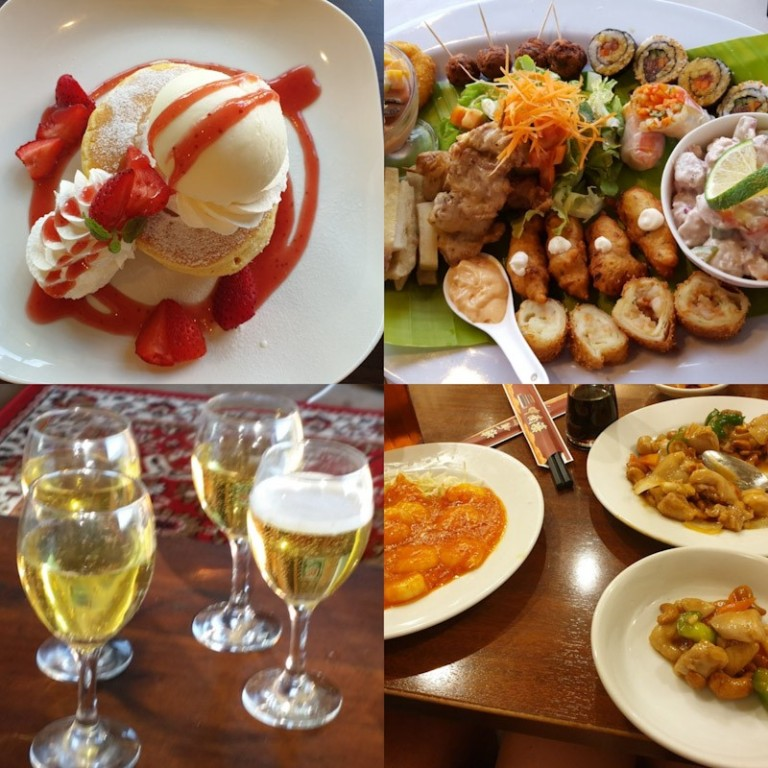 A collage of tempting, unhealthy food that people may face over the holiday season.  Pancakes and icecream, fried  food, alcohol and large servings of Chinese food