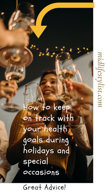 How to Keep On Track With Your Health Goals During Holidays and Special Occasions.  Shows a group of people at a party