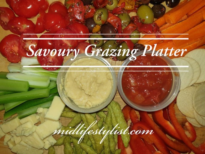 A healthy savoury grazing platter - healthy options for your cheese platter include vegetables, low fat cheese, salsa and hummous and leave out processed meat, crackers and high fat cheese