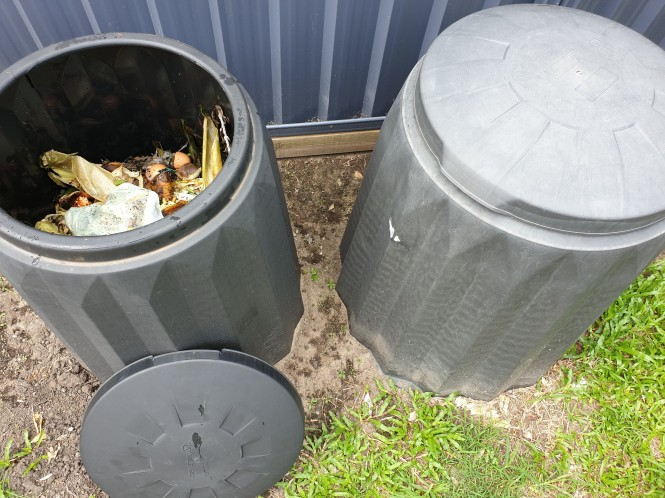 Guide to composting and worm farms. Dual compost bins.  Continuously fill one until it is full.  Meantime, the other one is breaking the organic material down into usable compost