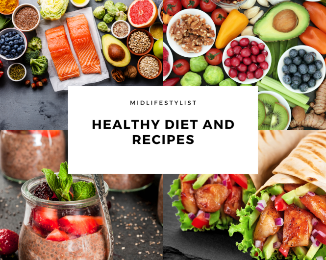 Healthy diet collage - fish, vegetables, fruit, nuts, seeds, legumes, healthy carbs, lean chicken, herbs and spices all play an important role in a healthy diet