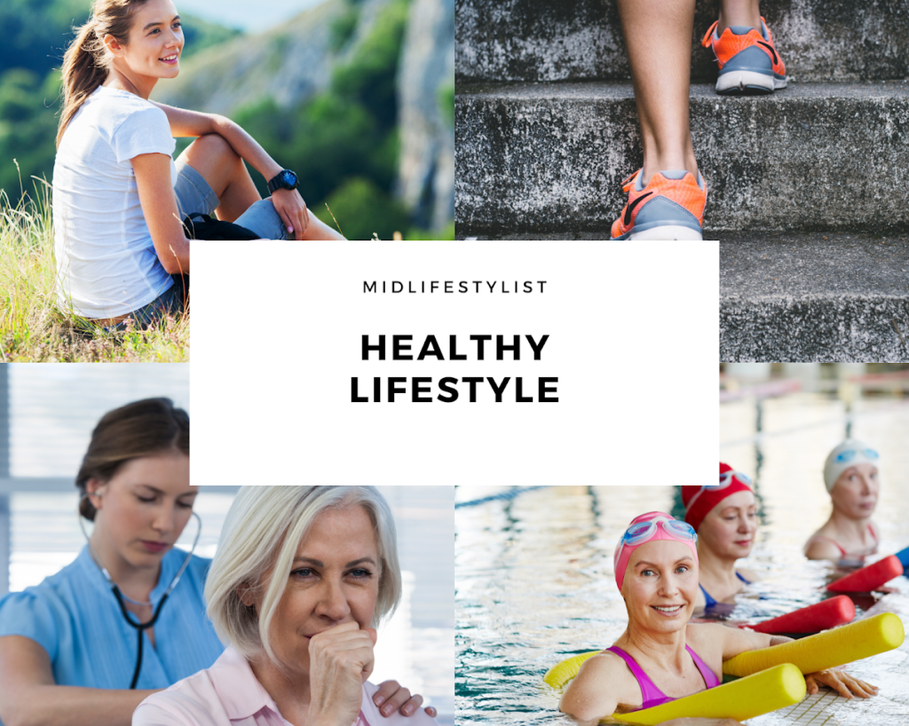 Healthy lifestyle collage - enjoying the outdoors, exercising, medical checkups, exercising in groups