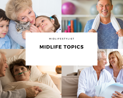 Midlife topics - collage of midlifers - as grandparents, maintaining health and fitness, ill health, couple planning for retirement